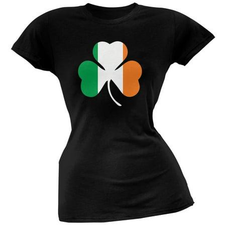 St. Patricks Day - Shamrock Flag Black Soft Juniors - Saint Patricks Day Crafts