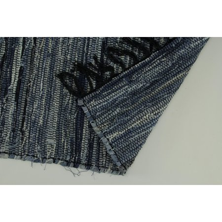 Blue Denim Rag Woven Cotton Fringed Throw Rug - image 2 of 3