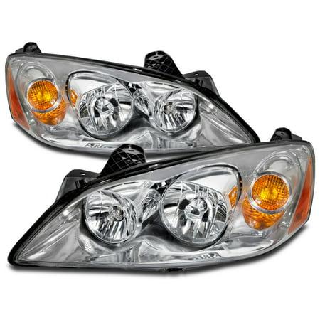 PERDE 2005-2010 Pontiac G6 Chrome Headlights w/Performance Lens Headlamp Assembly Pair Set GM2502255 and GM2503255