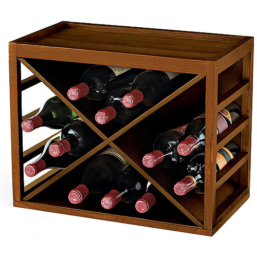 Wine Enthusiast 12-Bottle X Cube Stackable Hardwood Wine Rack