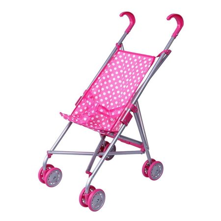 Precious Toys Pink & White Polka Dots Foldable Doll Stroller with swivel - Friends Stroller Toy
