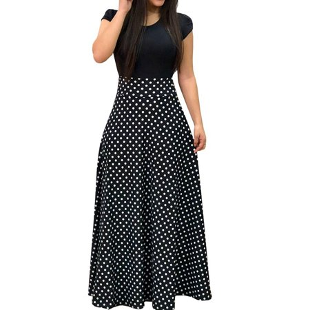 Fancyleo Women Fashion Polka Dot Print Short Sleeve Maxi Dress Casual Elastic High Waist Beach Long Dress - Poka Dots