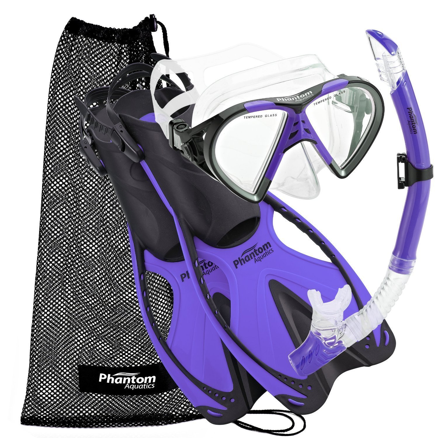 Phantom Aquatics Speed Sport Mask Fin Snorkel Set Adult, Twilight - Large/X-Large/Size 9 to 13