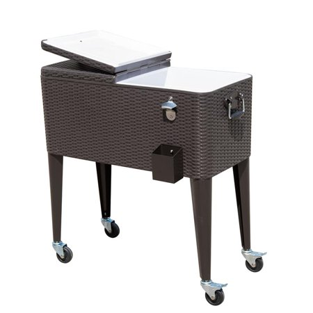 Anself 80 QT Rolling Ice Chest Portable Patio Party Drink Cooler Cart - Brown Wicker Pattern ()
