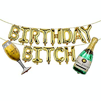 Birthday Bitch Blue Aluminum Foil Banner Balloons for Girlfriends Birthday Party Decorations and Supplies 16 inch Happy Birthday Bitch Balloons