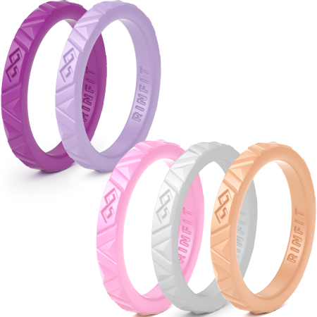 Stackable Silicone Rings - Thin rubber Wedding Bands for Women -5 rings set- Thin 2.5 mm wide - Stackable & Thin rubber Wedding Bands for women. Comfortable & durable wedding