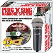 Plug N Sing Karaoke Microphone with Echo and 30 Pop Karaoke Songs on DVD