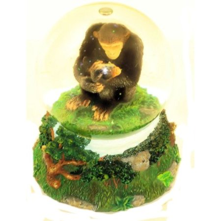 San Francisco Music Box Company Mom and Baby Chimp Water Globe Plays