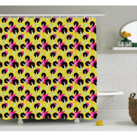 Disco Party Shower Curtain, Retro 80s Theme Girls with Black Curly Afro Hair and Polka Dots Funky Pop Art, Fabric Bathroom Set with Hooks, 69W X 75L Inches Long, Multicolor, by Ambesonne