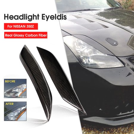 1 Pair Black Real Carbon Fiber Headlight Eye Lid Eyelids Trim Cover For Nissan 03-08 350Z Z33
