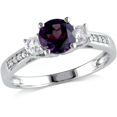 Tangelo 1-1/3 Carat T.G.W. Created Alexandrite, Created White Sapphire and Diamond-Accent 10kt White Gold Three Stone Ring