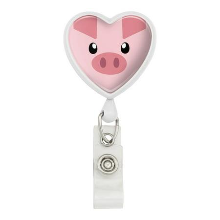 Animal Lanyards (Pig Face Farm Animal Heart Lanyard Retractable Reel Badge ID Card Holder -)
