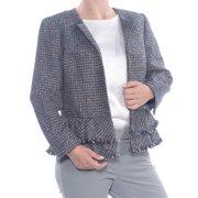 NINE WEST Womens Blue Frayed Check Bomber Formal Jacket  Size: 6