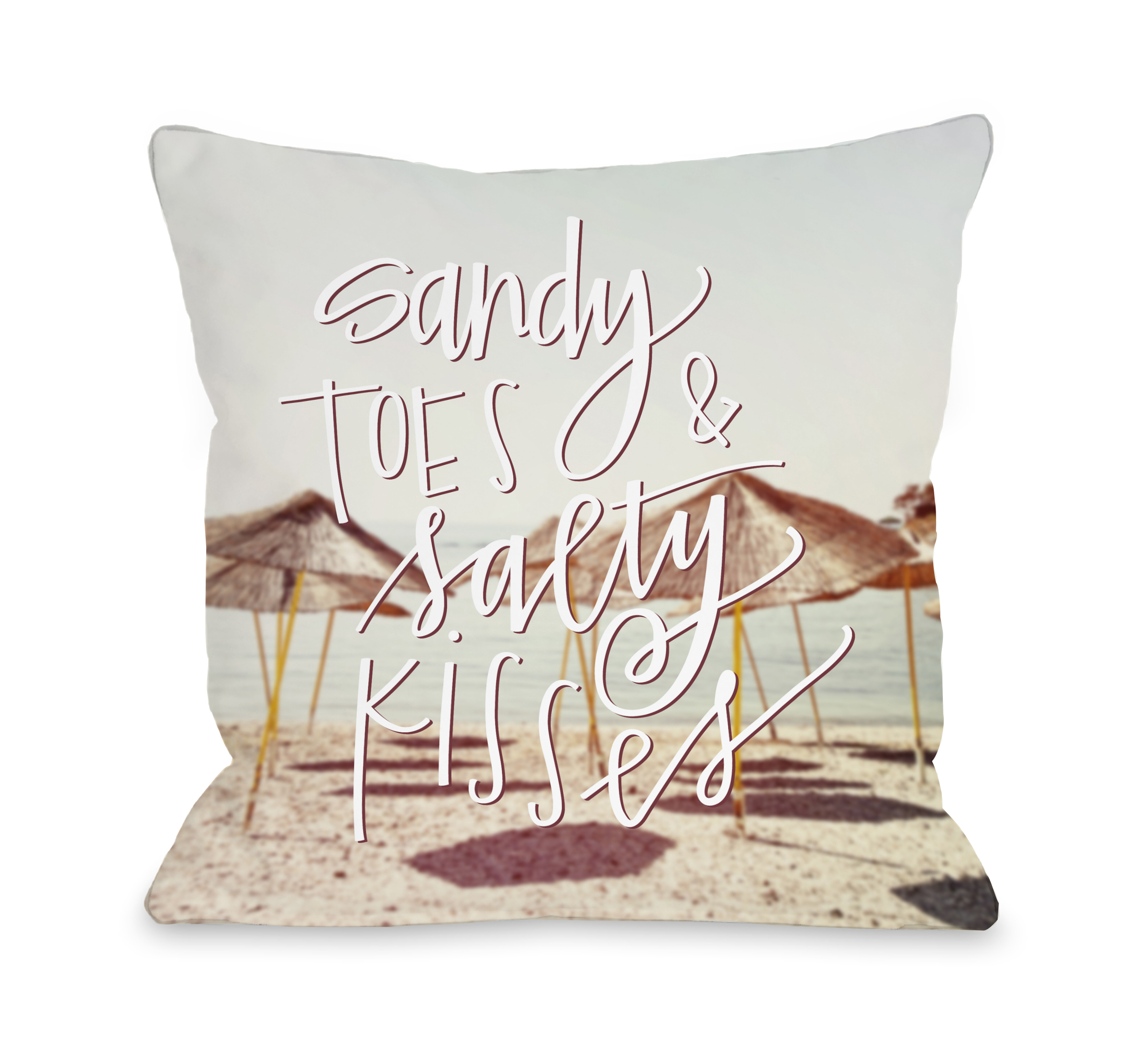 Sandy Toes Salty Kisses - Multi 18x18 Pillow by OBC