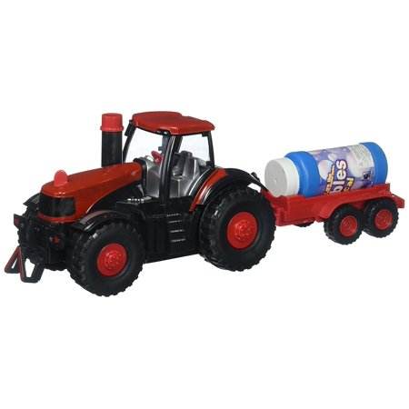 Super Cool Bubble Blowing Battery Operated Toy Tractor w/ Lights, Sounds, Funnel, & Bubbles, Bubble Farm Tractor Truck Toy Bump & Go Bubble Blowing Tractor Truck Carrying Trailer for $<!---->