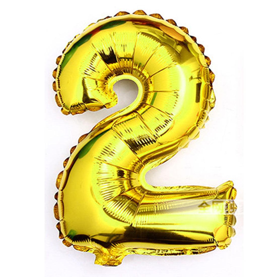 "Unique Bargains Foil Number 2 Shape Helium Balloon Birthday Wedding Party Decor Gold Tone 30"""