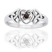 January Birthstone Ring - Sterling Silver Garnet Celtic Trinity Knot Heart