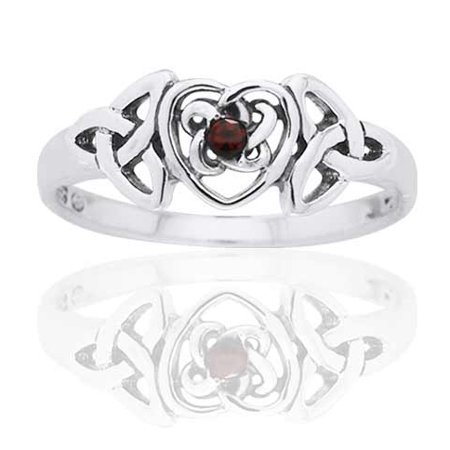 January Birthstone Ring - Sterling Silver Garnet Celtic Trinity Knot (Garnet Heart Drop)