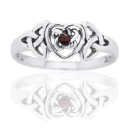January Birthstone Ring - Sterling Silver Garnet Celtic Trinity Knot Heart