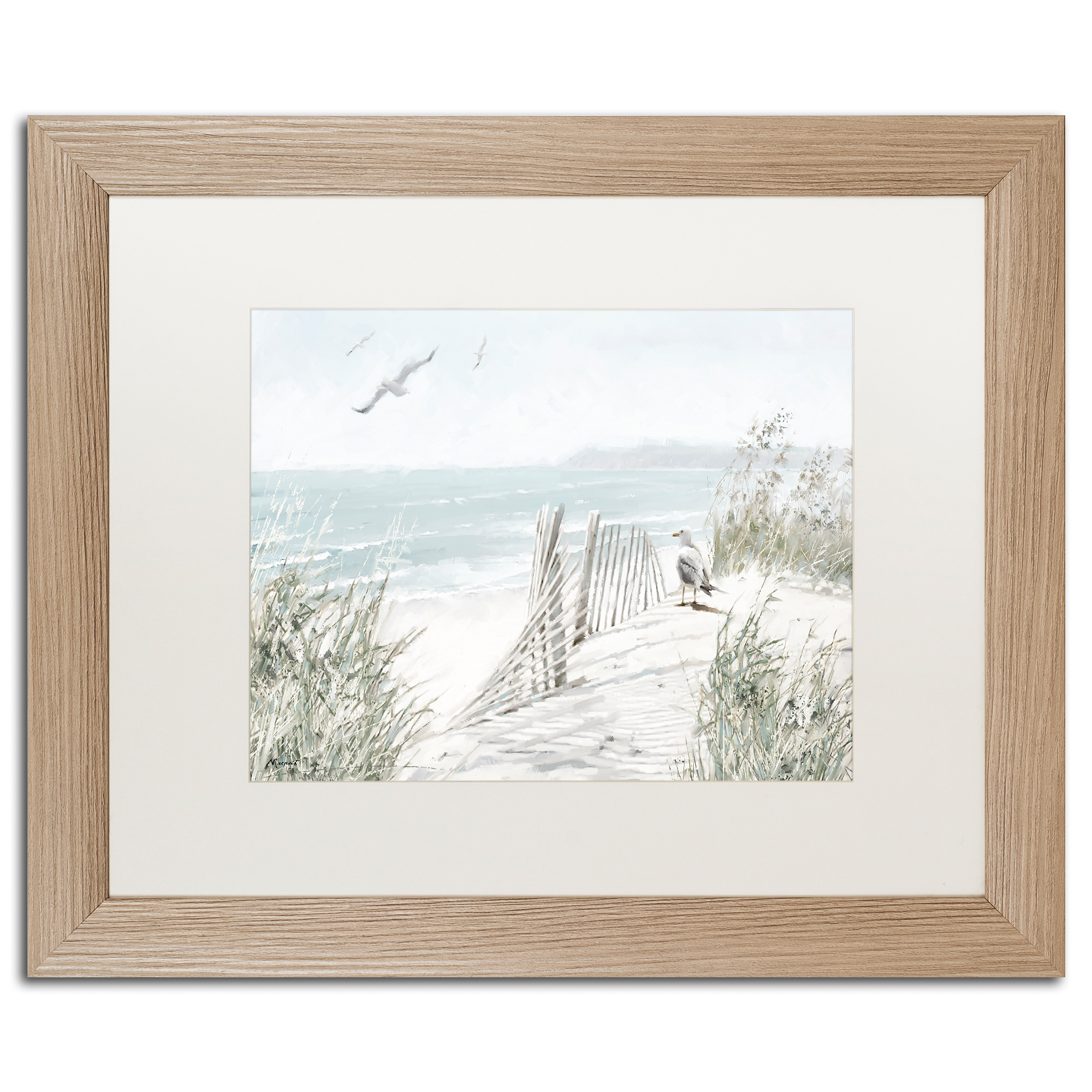 Trademark Fine Art 'Coastal Dunes' White Matte, Birch Framed Art by The Macneil Studio