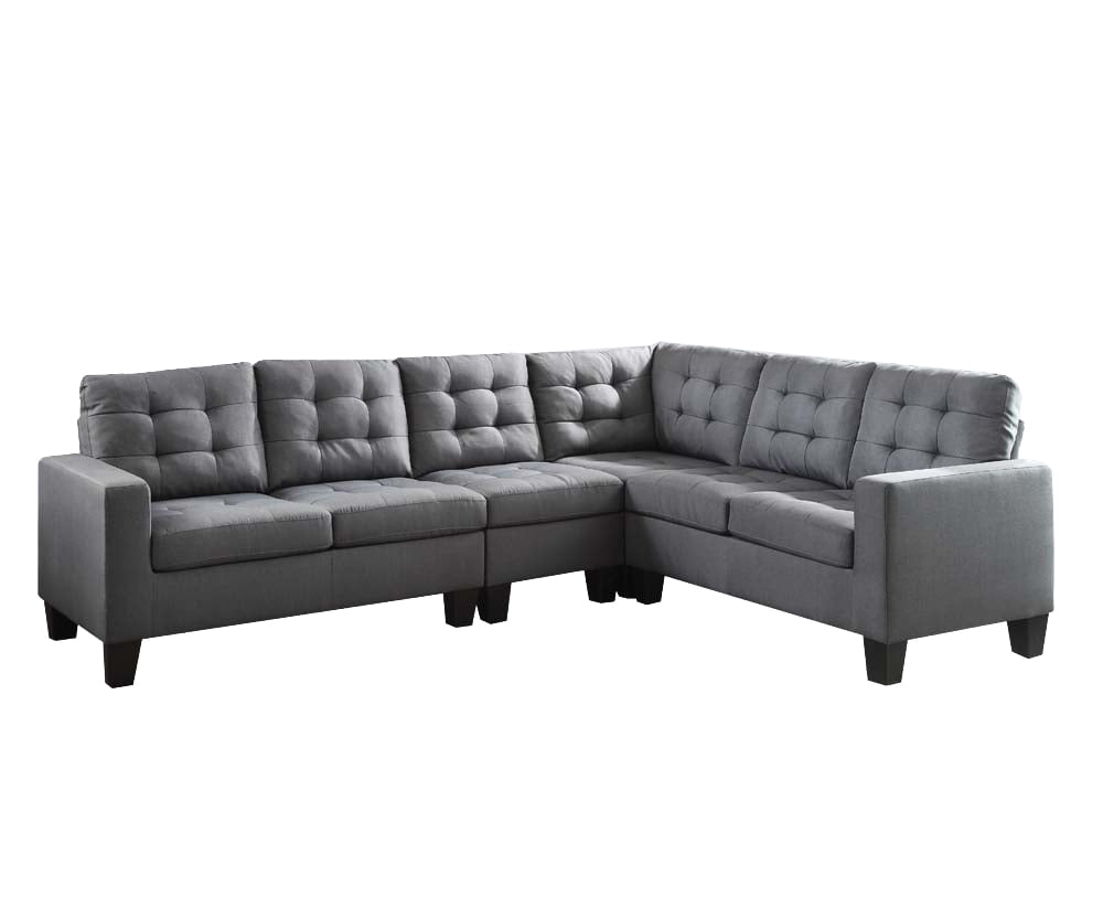 ACME Earsom Tufted Sectional Sofa in Gray Linen Upholstery by Acme Furniture