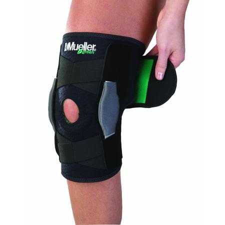 Knee Brace Sports Hinged (Mueller Green Adjustable Hinged Knee Brace, Black, One Size Fits)