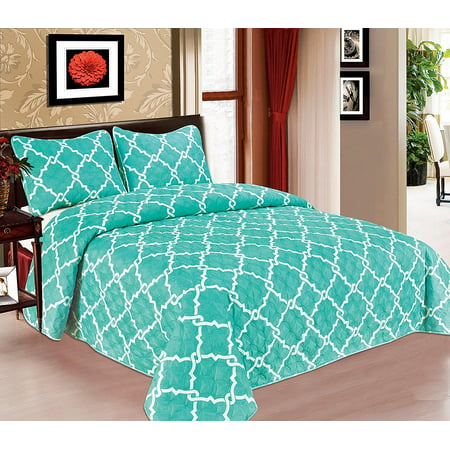 Galaxy Bedspread 3-Piece Quilt Set Soft Quilted Bedding New ArrIval SALE! ( Full, Turquoise ) (Halloween Quilt Kits Sale)