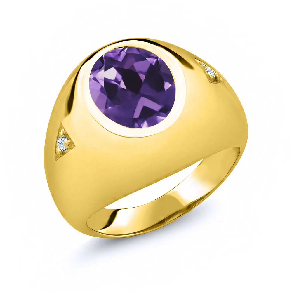 4.08 Ct Oval Purple Amethyst White Topaz 18K Yellow Gold Men's Ring