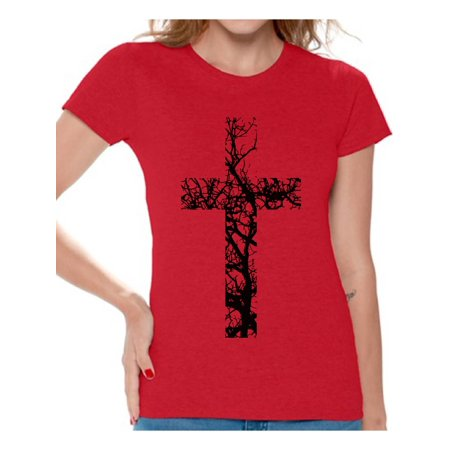 Awkward Styles Black Cross Tshirt for Women Christian Cross Clothes for Ladies Following Jesus Womens T-Shirt Christian Gifts Jesus Shirts Jesus Cross Clothing Jesus T Shirt for Her Cross Ladies Shirt