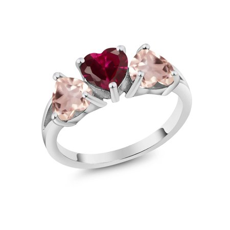 Rose Quartz Gemstone Ring (2.36 Ct Heart Red Created Ruby Rose Rose Quartz 925 Sterling Silver 3-Stone Ring )