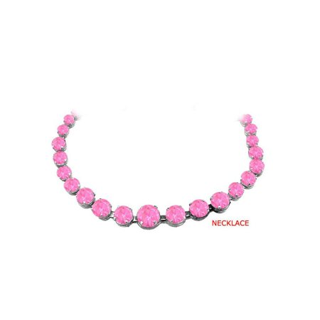 Pink Sapphire Graduated Bead Necklace Sterling Silver 30 CT TGW September Birthstone Jewelry