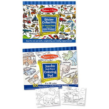 Melissa & Doug Sticker and Jumbo Coloring Pads Set: Animals, Sports, Vehicles, and More - 500+ Stickers, 50 Coloring Pages](Doug And Melissa)