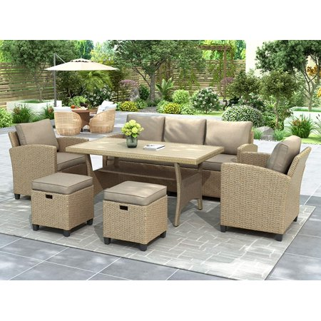 6-Piece Patio Furniture Set, Outdoor Dining Table Set All Weather Rattan Wicker Sofa with Table & Stools (Brown Cushion)