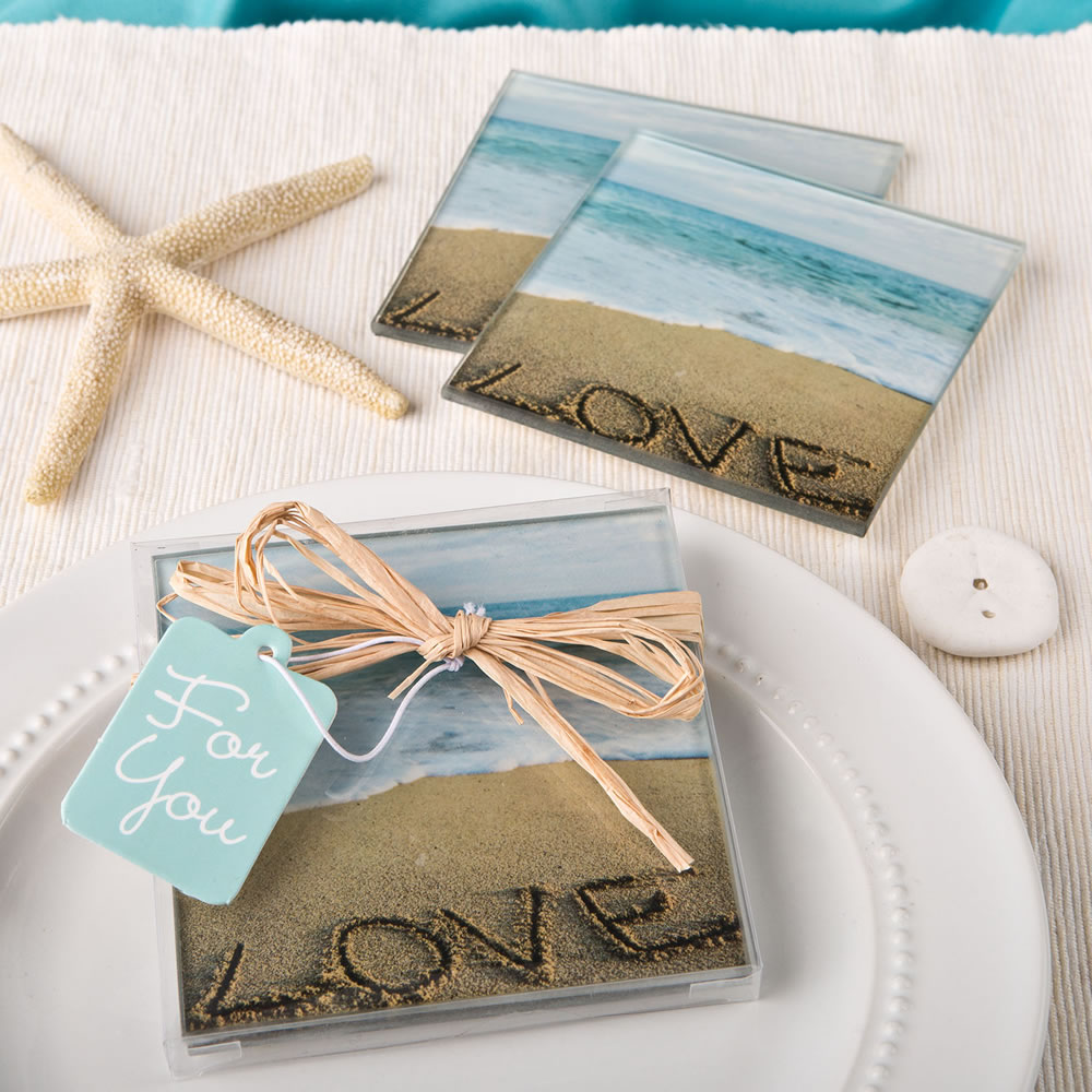 60 Beach Love themed set of 2 glass coasters from fashioncraft
