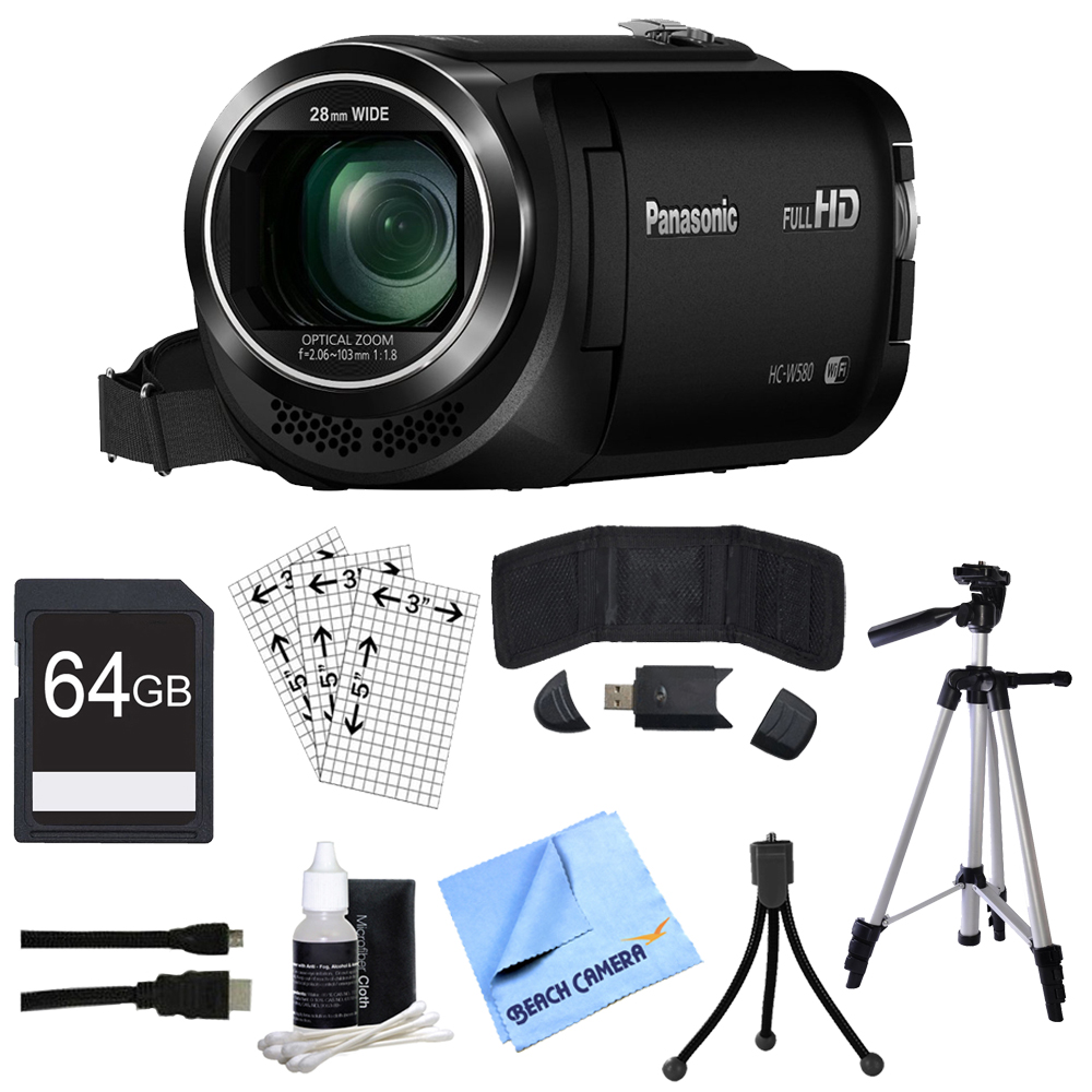 "Panasonic HC-W580K Full HD Camcorder w/Wi-Fi, Built-in Multi Scene Twin Camera - Black w/Bundle Includes, 64GB High Speed Memory Card, 57"" Full size Tripod & 6' High Speed mini-HDMI to HDMI A/V C"