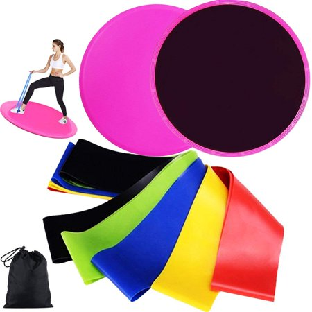 Resistance Bands Loop and Core Sliders Exercise, Exercise Elastic Bands (Set of 5) and Gliding Discs(Set of 2), Workout Fitness Equipment for Building Core Muscles and Dieting to Lose (Best Core Muscle Building Exercises)