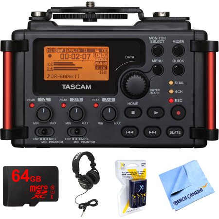 Tascam Portable Recorder for DSLR (DR-60DMKII) with 64GB MicroSDXC Memory Card, Closed-Back Professional Headphones Black, Xit AA Charger with 4 2950mah AA Batteries & 1 Piece Micro Fiber Cloth