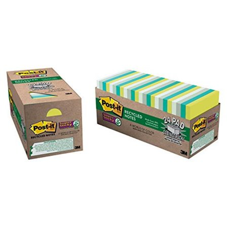 - 3M Office Products MMM65424SSTCP Sticky note Recycled Super Sticky Notes, 3 x 3 in., 24 Pads Per Pack