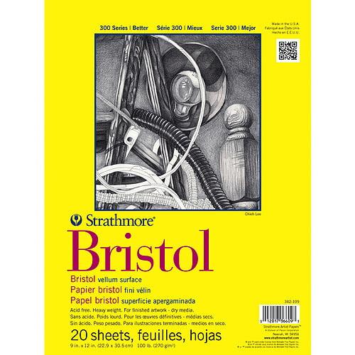 "Strathmore Vellum Bristol Paper Pad, 14"" x 17"", 100 lb, 20 Sheets"