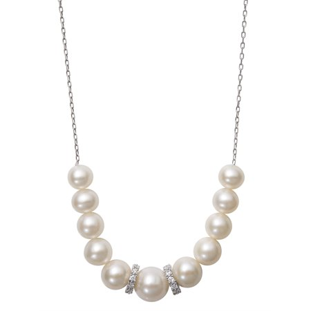 6-9.5mm Graduated Cultured Freshwater Pearl and CZ Encrusted Roundel Bead Sterling Silver Chain Necklace, (Graduated Beaded Chain)