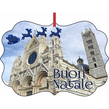 Santa Klaus and Sleigh Riding Over Siena Cathedral, Italy Elegant Aluminum SemiGloss Christmas Ornament Tree Decoration - Unique Modern Novelty Tree Décor Favors