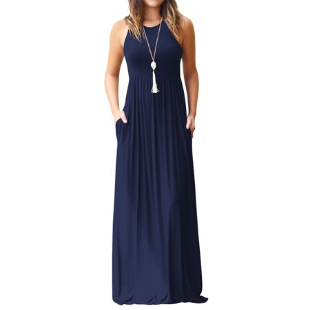 Women Round Neck Sleeveless Pure Color Long Dress with Pocket