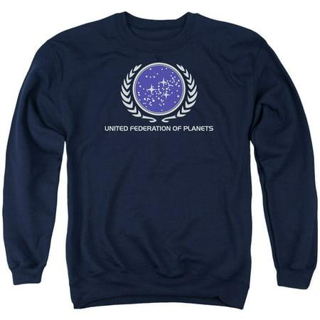 Star Trek Men's  United Federation Logo Sweatshirt (Star Trek United Federation Of Planets Blue Flag)