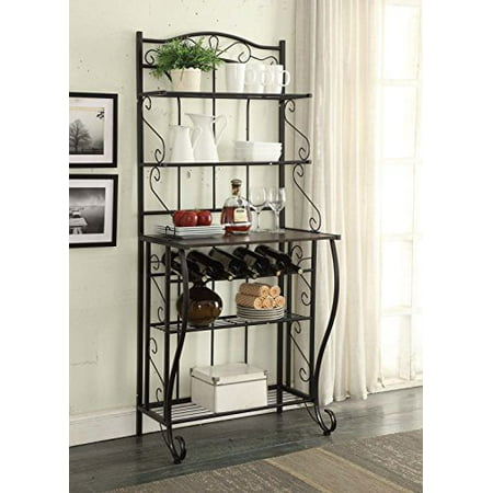 5-tier Black Metal Cappuccino Finish Shelf Kitchen Bakers Rack Scroll Design with 5 Bottles Wine Storage](Wine Bottle Halloween Crafts)