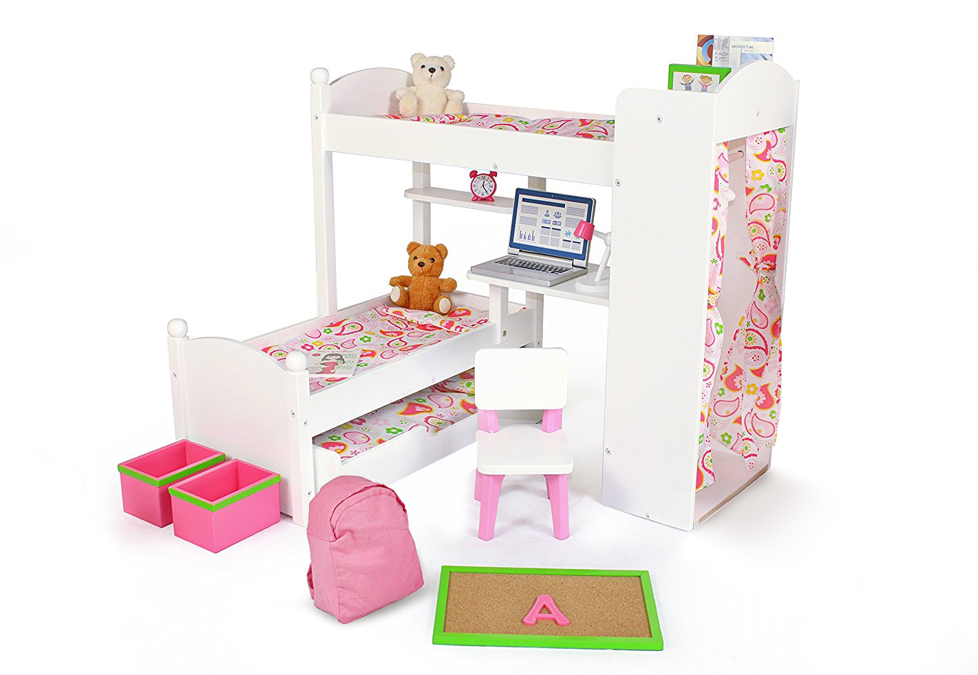 18 Inch Doll Furniture Bunk Beds w  Trundle and Accessories Playtime by Eimmie Collection by