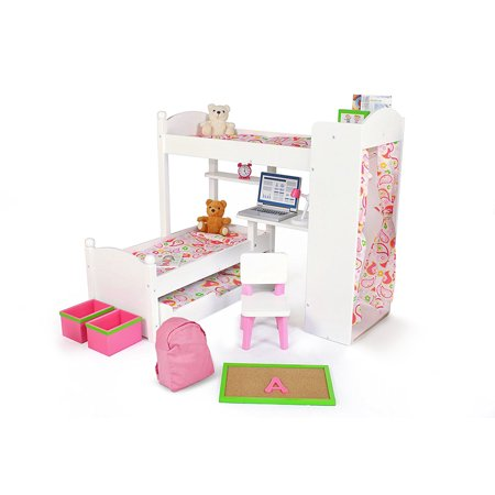 18 Inch Doll Furniture Bunk Beds W Trundle And Accessories Playtime