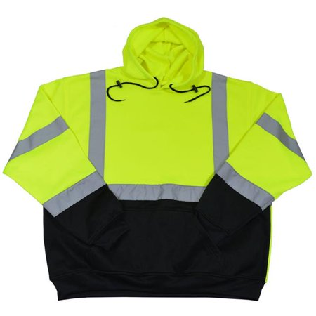 Petra Roc LBPUHSW-C3-4X ANSI 107-2015 Class 3 Two Tone Lime & Black Bottom Pullover Hooded Sweatshirt, 4X