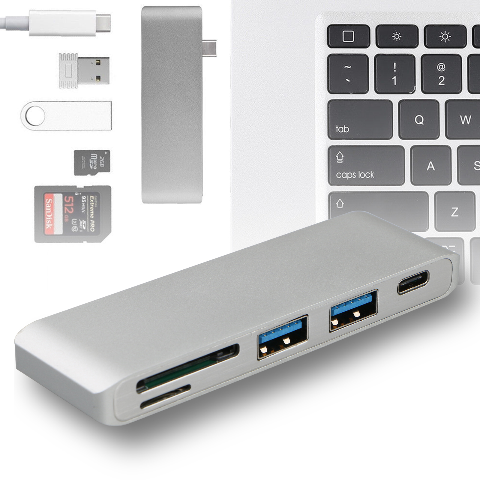 TSV 5in1 USB-C 3.0 Type-C HUB Adapter Data Sync Card Reader Charging, Aluminum Multi-Port Adapter with USB-C Charging Port For Macbook Pro
