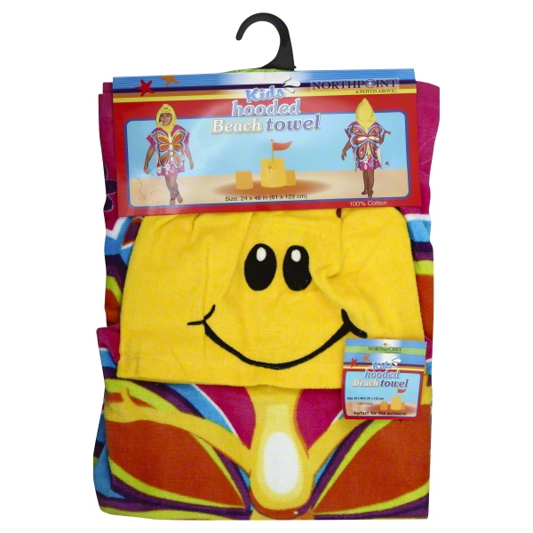 Northpoint Kids Hooded Beach Towel ASSORTED Designs 100% Cotton 24 x 48