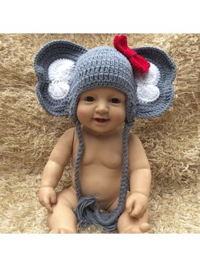 8f9662e5ad9 Product Image Outtop Newborn Baby Girl Boy Photography Prop Bow Photo  Crochet Knit Elephant Hat